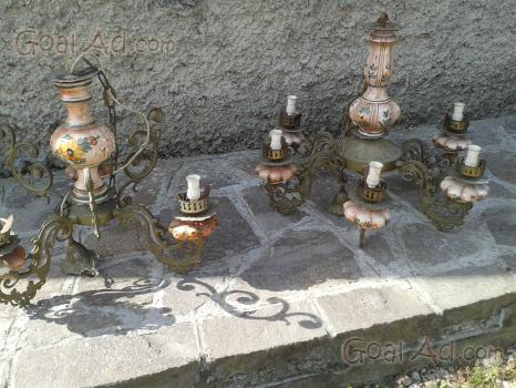 lampadari ottone : Coppia lampadari in ottone e ceramica ... - Arredamento E Casalinghi ...