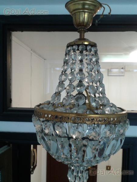 Lampadario cristallo gocce ottone bracci luci - Cerca, compra, vendi ...