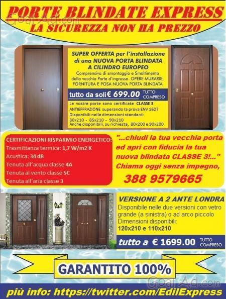 Portoncino blindato classe antieffrazione chiavi cantiere - Porta blindata classe 4 ...