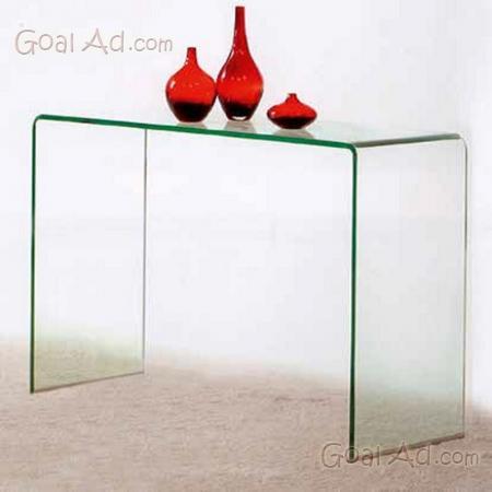 Design Curvo e Moderno,120 x 40 x 82 Vetro temperato Trasparente Tavolino Luxury Z-04 Bricok Tavolo da Salotto Consolle in Vetro Temperato